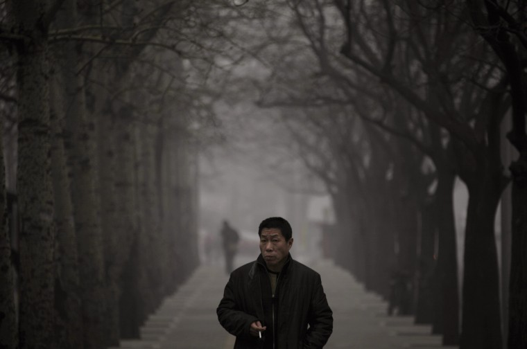 A man looks up as he walks along a street on a hazy day in Beijing. Beijing temporarily shut down 103 heavily polluting factories and took 30 percent of government vehicles off roads to combat dangerously high air pollution, state media reported on Tuesday, but the capital's air remained hazardous despite the measures. (Petar Kujundzic/Reuters)