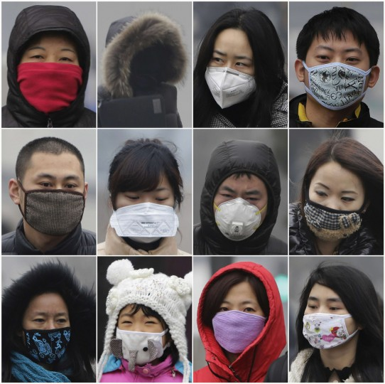 A combination photograph shows people wearing masks on a heavy haze day during winter in Beijing. Beijing's air pollution returns to 'hazardous' levels, two weeks after record readings of small particles in the air sparked a public outcry. (Jason Lee/Reuters)