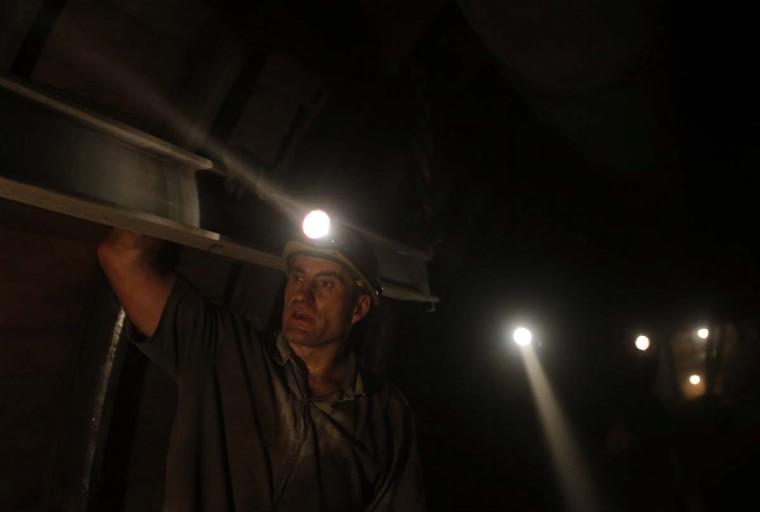 A miner works in Hungary's last remaining deep-cast coal mine at Markushegy, 70 km west of Budapest, January 23, 2013. (Laszlo Balogh/Reuters)