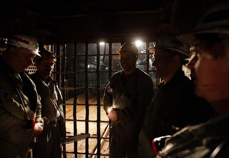 Miners leave after their shift in Hungary's last remaining deep-cast coal mine at Markushegy, 70 km west of Budapest, January 23, 2013. (Laszlo Balogh/Reuters)