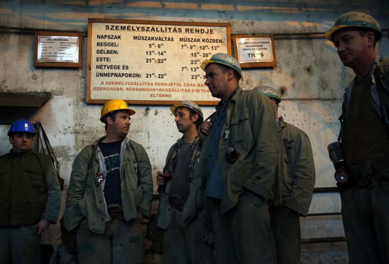 Miners wait to begin their shift in Hungary's last remaining deep-cast coal mine at Markushegy, 70 km west of Budapest, January 23, 2013. (Laszlo Balogh/Reuters)