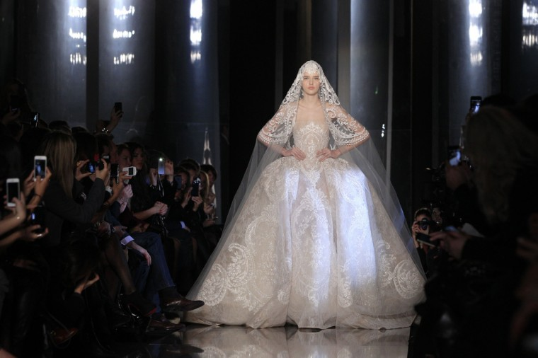 A model presents a creation by Lebanese designer Elie Saab as part of his Haute Couture Spring-Summer 2013 fashion show in Paris. (Gonzalo Fuentes/Reuters)