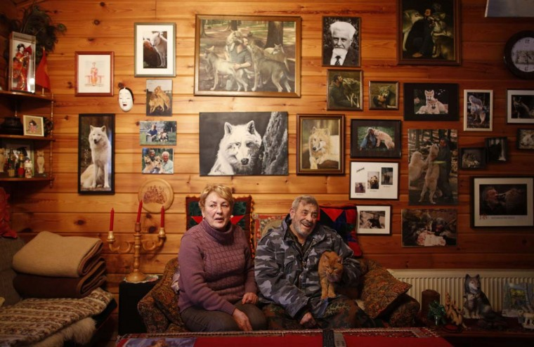Wolf researcher Werner Freund, his wife Erika and their cat Max sit in the living room of their home near Wolfspark Werner Freund, in Merzig in the German province of Saarland January 24, 2013. Freund, 79, a former German paratrooper, established the wolf sanctuary in 1972 and has raised more than 70 animals over the last 40 years. (Lisi Niesner/Reuters)