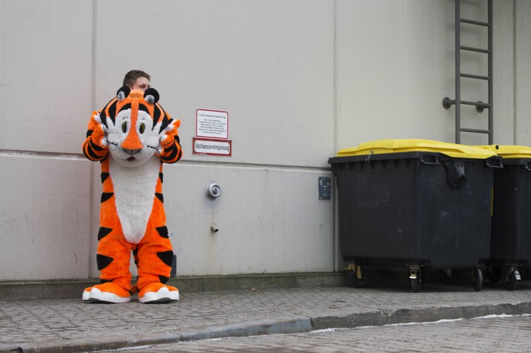 A man wearing the costume of Tony the Tiger, a mascot of Kellogg's Frosted Flakes, takes a rest outside a pavilion at the Green Week agricultural fair in Berlin. The annual exhibition of food stuffs and agricultural products is one of the world's largest of its kind. (Thomas Peter/Reuters)