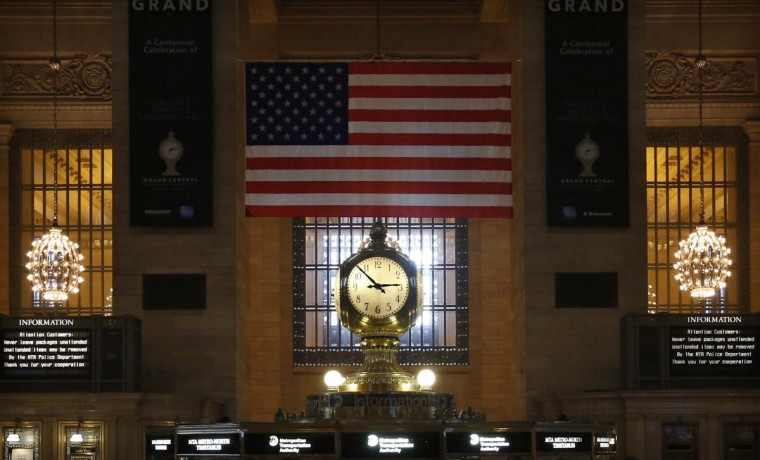 The Grand Central Terminal Clock sits above the information booth at the center of the main concourse at Grand Central Terminal in New York, January 25, 2013. (Brendan McDermid/Reuters)