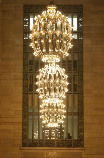 Large gold plated chandeliers hang off the main concourse of Grand Central Terminal in New York, January 25, 2013. (Brendan McDermid/Reuters)