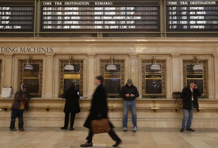 Commuters move through the grand hall of Grand Central Terminal in New York, January 25, 2013. (Brendan McDermid/Reuters)