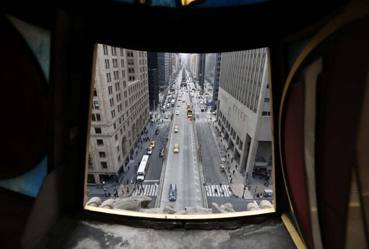 Park Avenue south direction is pictured from a view looking out from the Tiffany clock over Park Ave and 42nd St. at Grand Central Terminal in New York, January 25, 2013. (Brendan McDermid/Reuters)