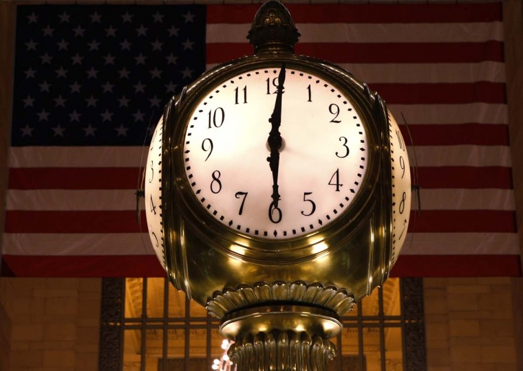 The Grand Central Terminal Clock sits above the information booth at the center of the main concourse at Grand Central Terminal in New York, January 29, 2013. (Brendan McDermid/Reuters)