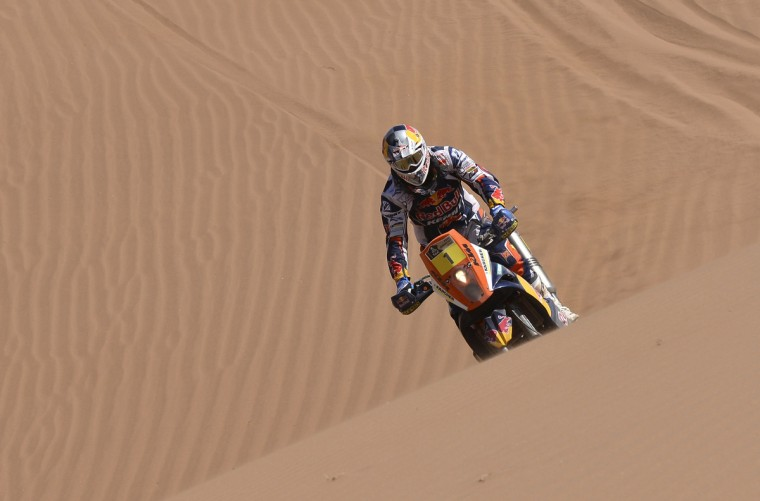 France's Cyril Despres rides his KTM during the 13th stage of the Dakar Rally 2013 from Copiapo to La Serena, January 18, 2013. (Reuters)