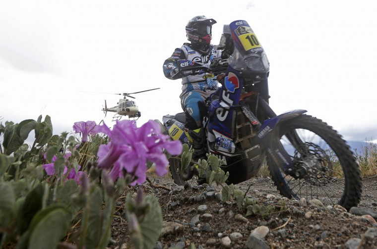 France's David Casteu rides his Yamaha during the 8th stage of the Dakar Rally 2013 from Salta to San Miguel de Tucuman January 12, 2013. (Jacky Naegelen/Reuters)