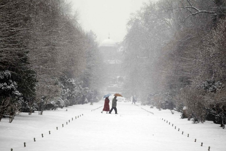 People walk under umbrellas in a snow-covered park during snowfall in Bucharest January 28, 2013. (Bogdan Cristel/Reuters)