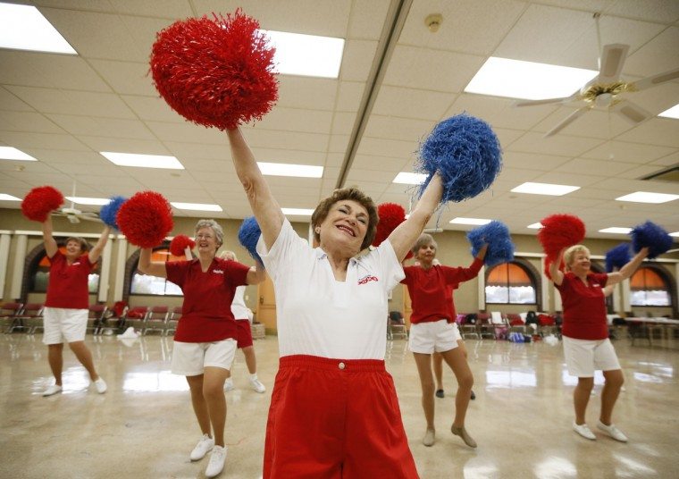 Pat Weber, 81, leads the Sun City Poms cheerleader dancers as they rehearse in Sun City, Arizona. (Lucy Nicholson/Reuters)