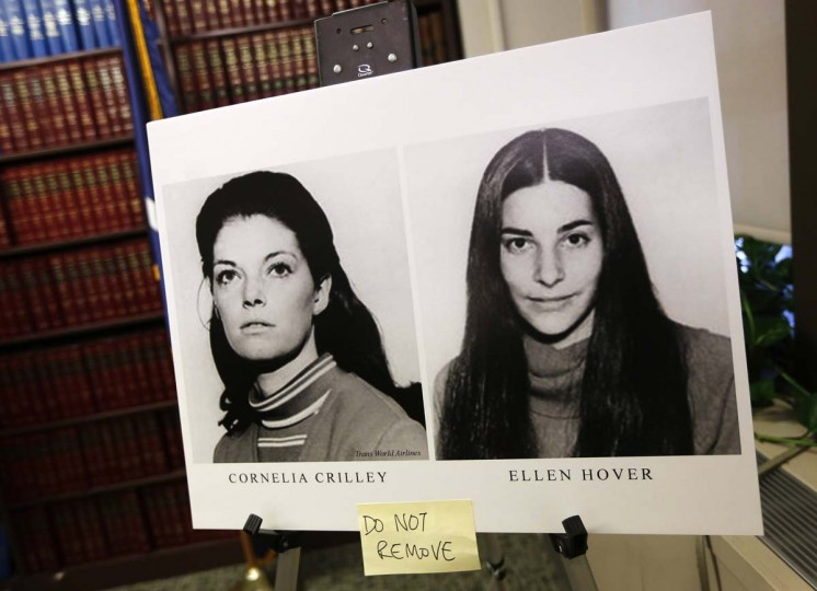 Photographs of Cornelia Crilley (L) and Ellen Hover are seen before a news conference with Manhattan District Attorney Cyrus Vance regarding the sentencing of convicted California serial killer Rodney Alcala in New York January 7, 2013. Alcala, known as the Dating Game killer thanks to his appearance on the television game show more than 30 years ago, was sentenced to at least 25 years in prison on Monday for murdering two New York women in the 1970s. (Shannon Stapleton/Reuters)
