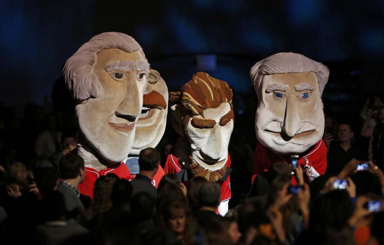 Presidential puppets are shown in the Kids Inaugural concert for children and military families, one of the events ahead of the second-term inauguration of U.S. President Barack Obama in Washington January 19, 2013. (Jonathan Ernst/Reuters)