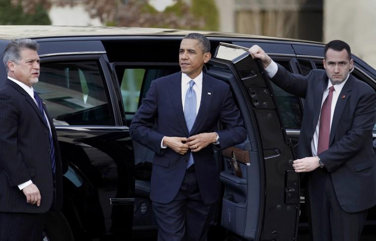 Obama arriving at St. John's prior to the inauguration. (REUTERS/Joe Skipper)