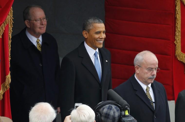 U.S. President Barack Obama arrives on stage. (REUTERS/Brian Snyder)