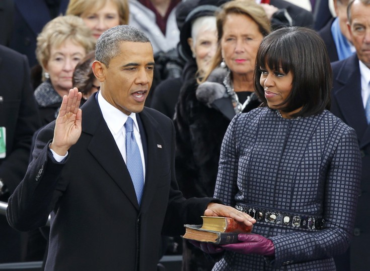 U.S. President Barack Obama recites his oath of office (REUTERS/Jim Bourg)
