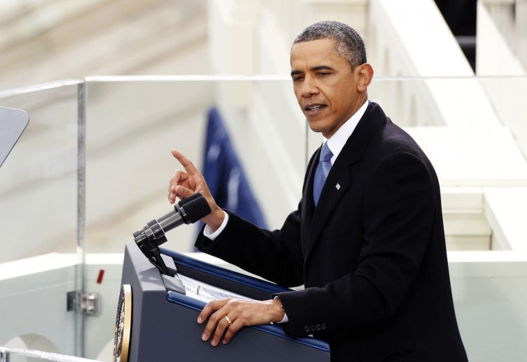 U.S. President Barack Obama speaks during swearing-in ceremonies. (REUTERS/Kevin Lamarque)