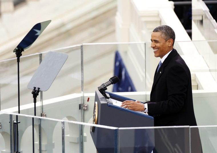 U.S. President Barack Obama at the podium. (REUTERS/Kevin Lamarque)