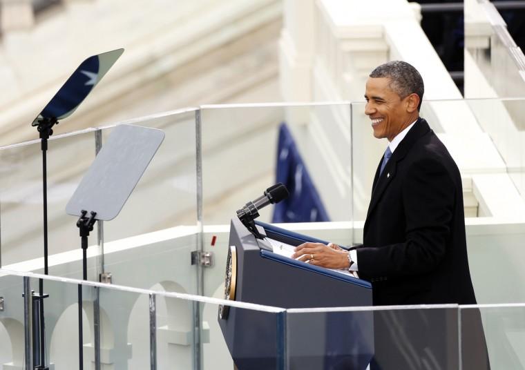 U.S. President Barack Obama at the podium. (REUTERS/Kevin Lamarque)
