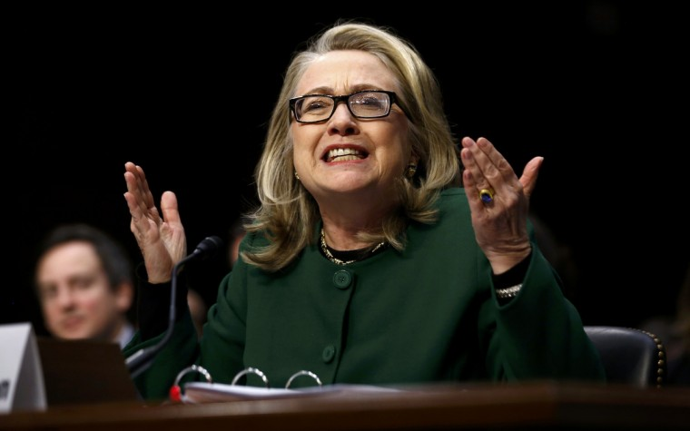 U.S. Secretary of State Hillary Clinton responds forcefully to intense questioniing on the September attacks on U.S. diplomatic sites in Benghazi, Libya, during a Senate Foreign Relations Committee hearing on Capitol Hill in Washington. (Kevin Lamarque/Reuters)