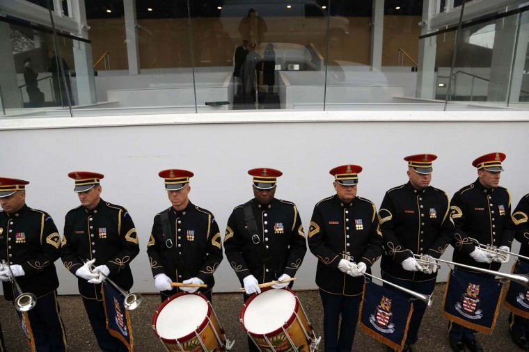 U.S. Army trumpeters and drummers take their spots below the presidential reviewing stand for a rehearsal for next week's inauguration ceremonies to mark the start of President Barack Obama's second term in Washington, January 13, 2013. (Jonathan Ernst/Reuters)