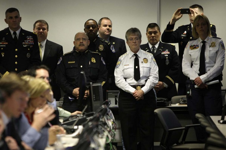 Officials including the Commander of the Military District of Washington U.S. Army General Michael Linnington (L), U.S. Park Police Chief Teresa Chambers (3rd R) and Washington Metropolitan Police Chief Cathy Lanier (R) wait to address reporters at the Multi-Agency Communications Center (MACC) in an undisclosed location in the Maryland suburbs near Washington, January 15, 2013. The MACC is a central location where security, defense and public safety agencies will coordinate efforts in case of problems during President Barack Obama's inauguration next week in Washington. (Jonathan Ernst/Reuters)