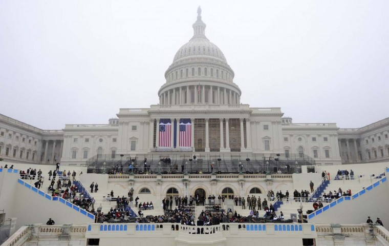 General view of the west front, with construction still on-going, during a dress rehearsal on a misty and foggy day, for the inaugural of President Barack Obama at the U.S. Capitol, Washington DC, January 13, 2013. The official inauguration and swearing-in is January 21, 2013. (Mike Theiler/Reuters)