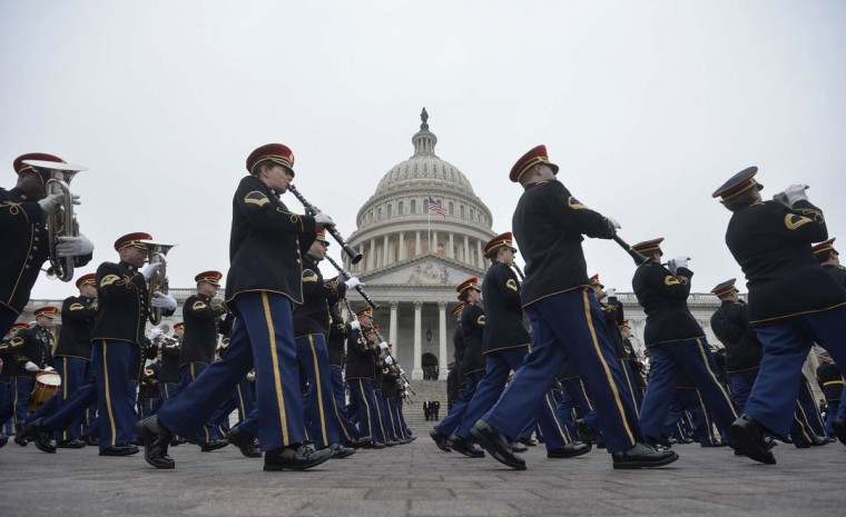 Members of the military band perform during a dress rehearsal at the U.S. Capitol in Washington January 13, 2013. The official inauguration and swearing-in will take place on January 21, 2013. (Mike Theiler/Reuters)