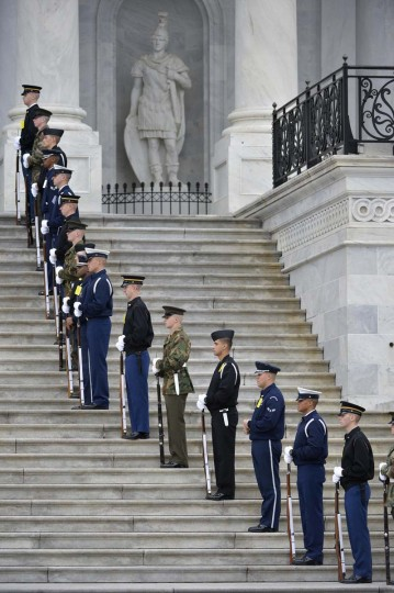 Members of the military honor guard take their positions during a dress rehearsal at the U.S. Capitol in Washington January 13, 2013. The official inauguration and swearing-in will take place on January 21, 2013. (Mike Theiler/Reuters)