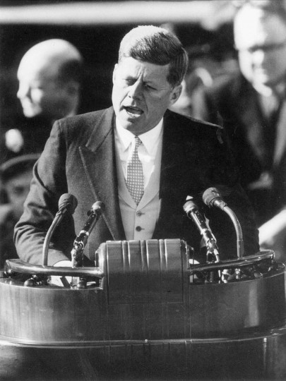 "Jan. 20, 1961 —President John F. Kennedy delivers his inaugural address after taking the oath of office at the Capitol in Washington in Jan. 20, 1961. During this historic speech Kennedy wagged his index finger as he said, ""Ask not what your country can do for you, ask what you can do for your country."" (AP File Photo)"