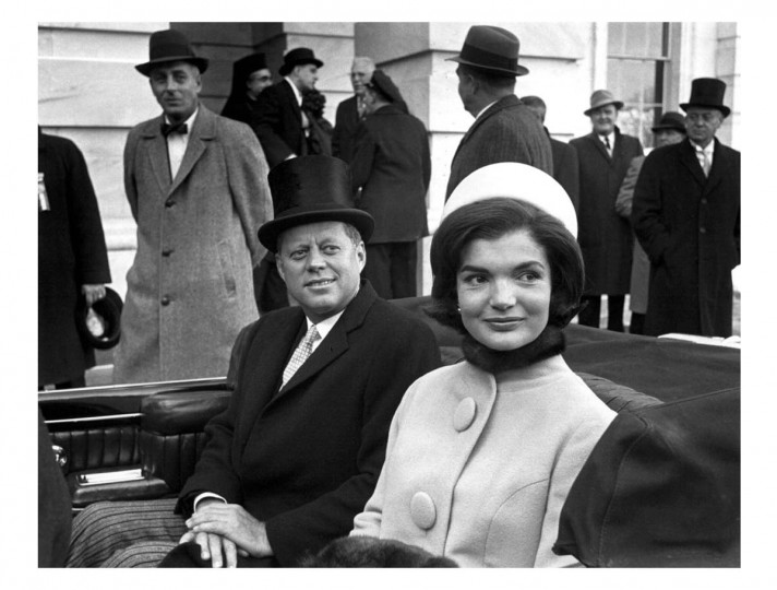 January 20, 1961 — President John F. Kennedy with wife Jacqueline Kennedy on January 20, 1961 after taking the oath of office. (Bett Mann/Reuters)