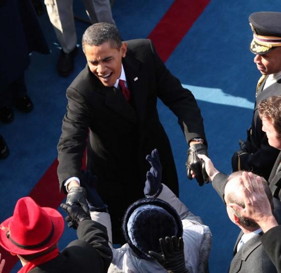 January 20, 2009 — President-elect Barack Obama arrives for his inauguration Tuesday, Jan. 20, 2009, in Washington. (Nancy Stone/Chicago Tribune)