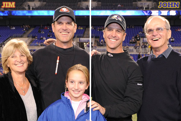 Before the Ravens vs. 49ers game on November 24, 2011, the Harbaugh family posed for a picture. The family is (L to R) Jackie (mom), Jim (brother), Alison (John's daughter), John (brother), and Jack (dad) Harbaugh. (Phil Hoffmann/Ravens photographer)