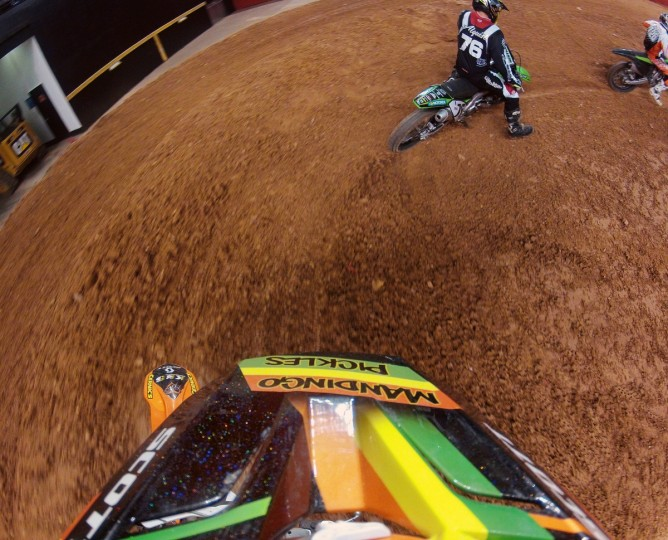 A view from motorcycle rider Dave Ginolfi's helmet camera of the track as he is coming off one of the jumps on the Arenacross track built in the 1st Mariner Arena. (Gene Sweeney Jr./Baltimore Sun)