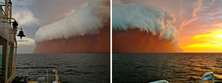 LEFT This handout, posted by Perth Weather Live, shows a towering red dust storm over the ocean ahead of the cyclone approaching Onslow on the West Australian coast on January 9, 2013. Tug boat worker Brett Martin, who captured the fearsome pictures 25 nautical miles from the town of Onslow, reported conditions were glassy and flat before the storm hit late int he day. But when the wild weather arrived, the swell lifted to two metres, winds increased to 40 knots and visibility was reduced to 100 metres. (Perth Weather Live/Brett Martin/AFP/Getty Images)