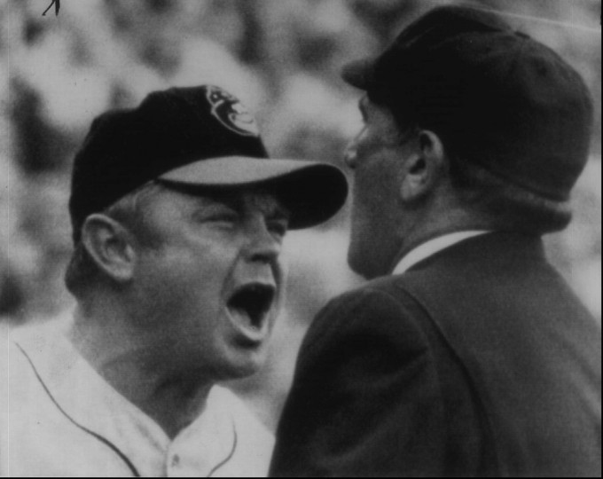 """Oct 14, 1969 : """"I don't agree."""" That seems to be the gist of what Orioles manager Earl Weaver is saying to home plate umpire Larry Napp as he disputes an obstruction call during the fourth inning of Tuesday's World Series game. (AP file photo)"""