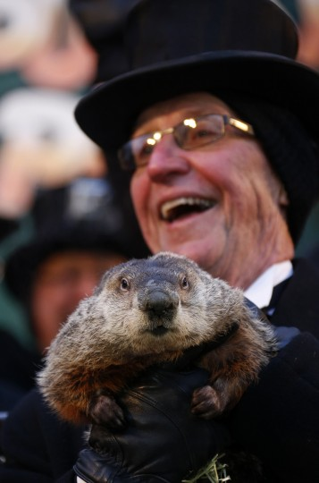 Groundhog co-handler Ron Ploucha reacts after hearing famed weather prognosticating groundhog Punxsutawney Phil's annual prediction on Gobbler's Knob in Punxsutawney, Pennsylvania, on the 127th Groundhog Day, February 2, 2013. An early spring was predicted as Phil did not see his shadow. REUTERS/Jason Cohn