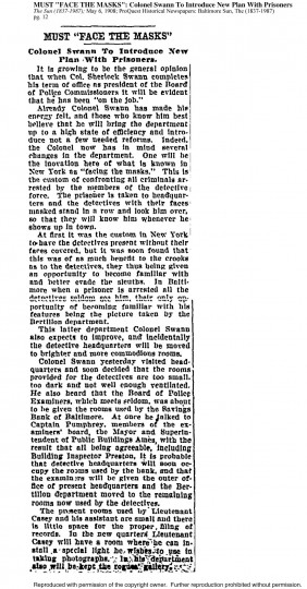 "Excerpt from The Sun; May 6, 1908, pg. 12 | MUST ""FACE THE MASKS"": Colonel Swann To Introduce New Plan WIth Prisoners"