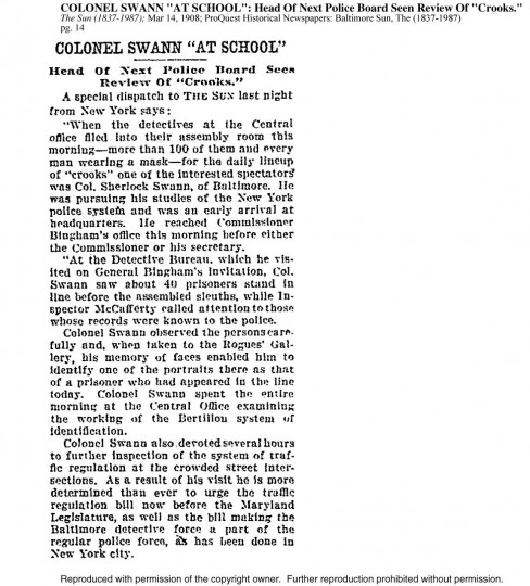 "Excerpt from The Sun; May 14, 1908, pg. 14 | COLONEL SWANN ""AT SCHOOL"": Head Of Next Police Board Seen Review Of ""Crooks."""