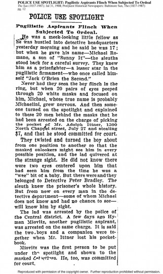 Excerpt from The Sun; Jul 31, 1908, pg. 12 | POLICE USE SPOTLIGHT: Pagilistic Aspirants Flinch When Subjected To Ordeal