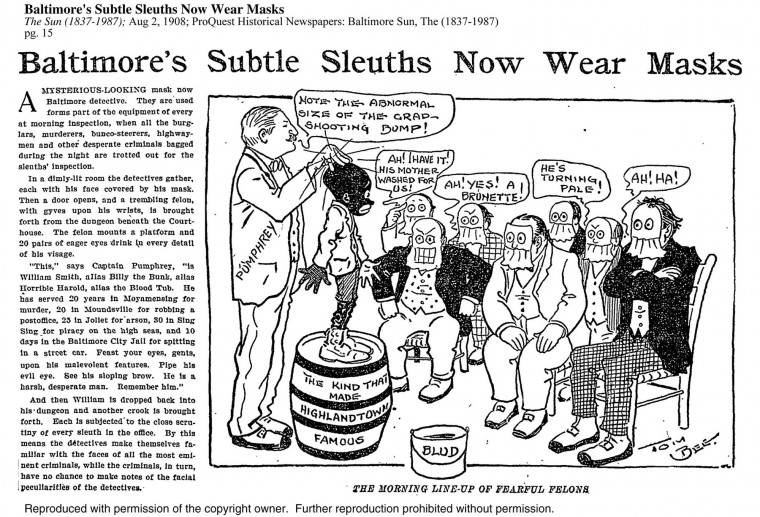 "A ""spoof"" article and cartoon excerpted from The Sun; Aug 2, 1908, pg. 15 