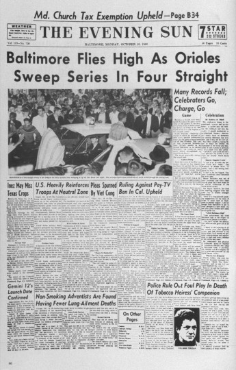 May 13, 1997 — A copy of The Evening Sun on Monday, October 10, 1966 about the Baltimore Orioles sweeping the series.