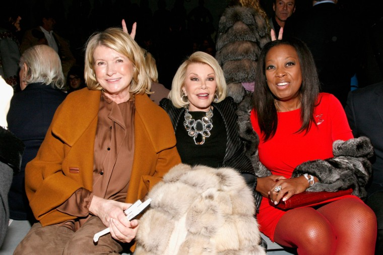 Martha Stewart, Joan Rivers and Star Jones attend the Dennis Basso Fall 2013 fashion show during Mercedes-Benz Fashion Week at The Stage at Lincoln Center in New York City. (Andy Kropa/Getty Images)