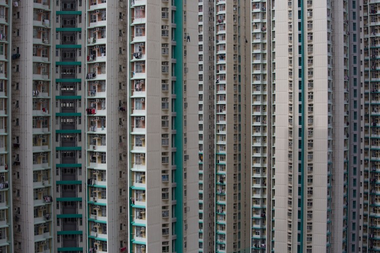 A view of a public housing estate in Choi Hung in Hong Kong. One of the most densely populated countries in the world is Hong Kong, with a population of over 7.1 million inhabitants in an area of 1100 square kilometres. (Lam Yik Fei/Getty Images)