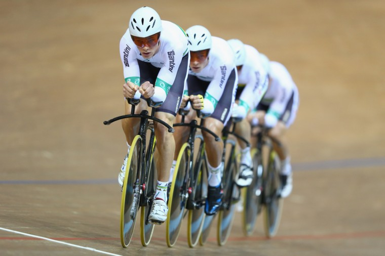 Michael Hepburn (L) of Australia leads the men's team pusruit to gold during day one of the UCI Track World Championships at Minsk Arena in Minsk, Belarus. (Michael Steele/Getty Images)