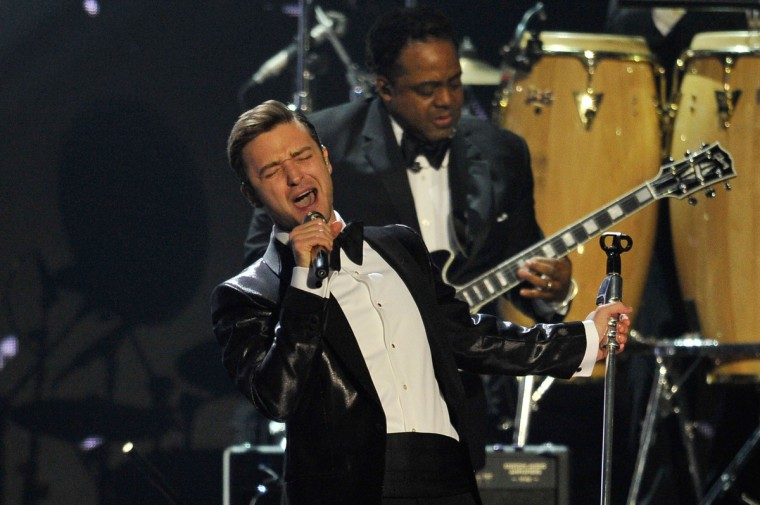 Justin Timberlake performs on stage during the Brit Awards 2013 at the 02 Arena. (Matt Kent/Getty Images)