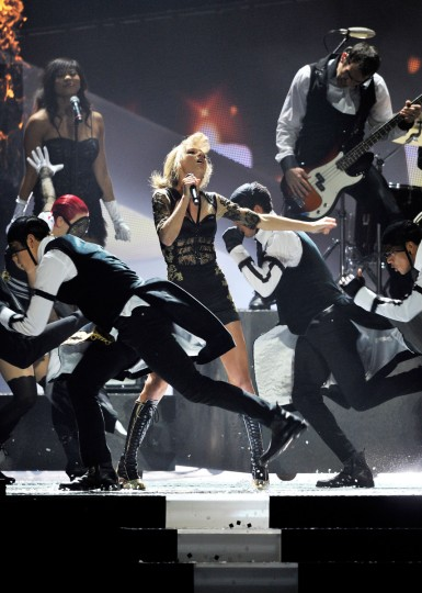 Taylor Swift performs on stage during the Brit Awards 2013 at the 02 Arena in London, England. (Matt Kent/Getty Images)