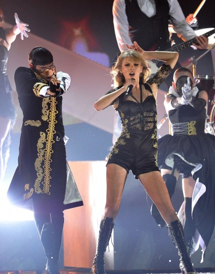 Taylor Swift performs on stage during the Brit Awards 2013 at the 02 Arena on February 20, 2013 in London, England. (Matt Kent/Getty Images)